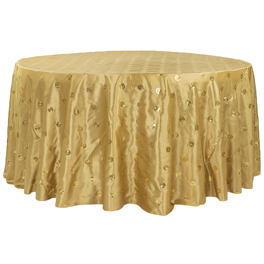 "Sequin Embroidery Taffeta 132"" Round Tablecloth - Gold"