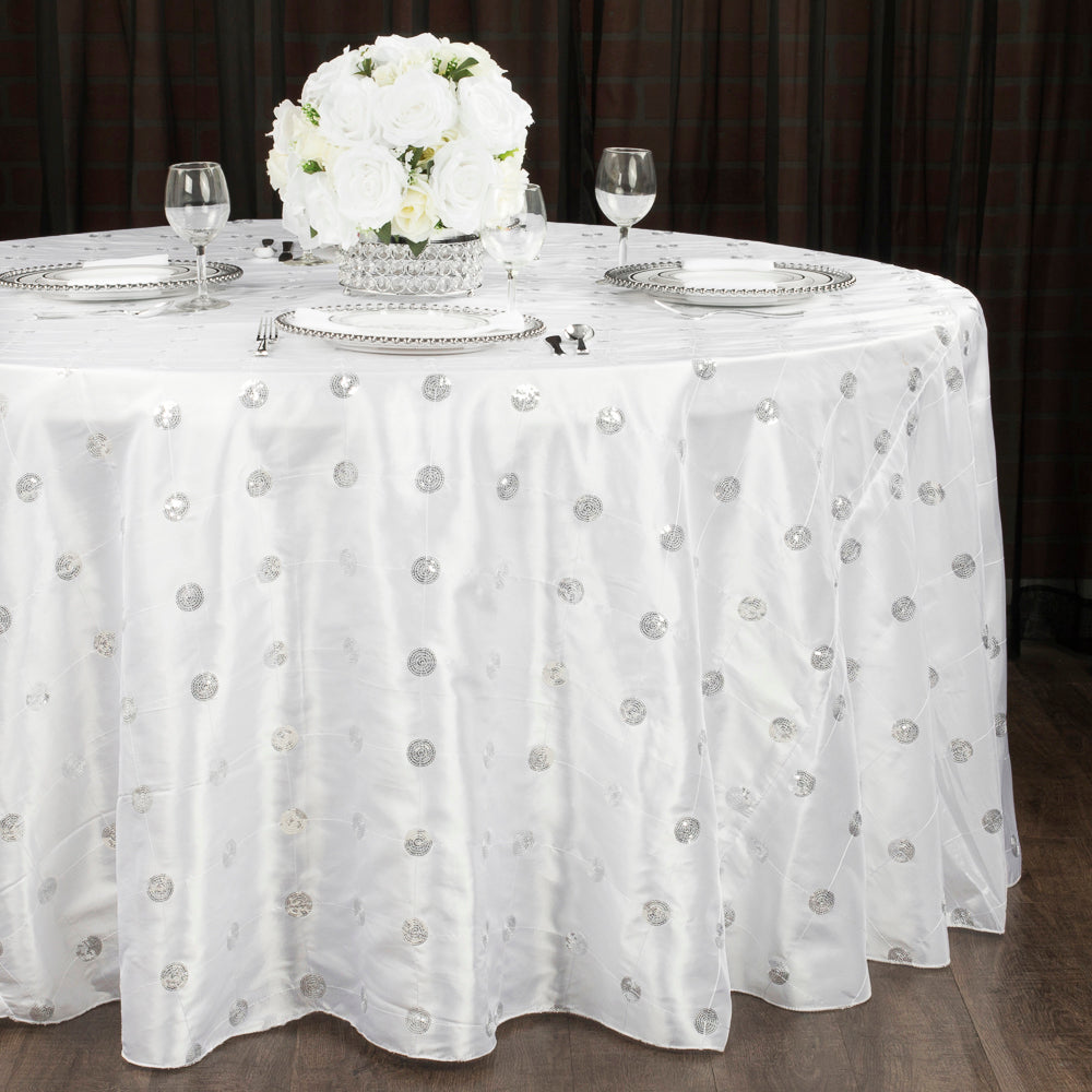 "Sequin Embroidery Taffeta 120"" Round Tablecloth - White"