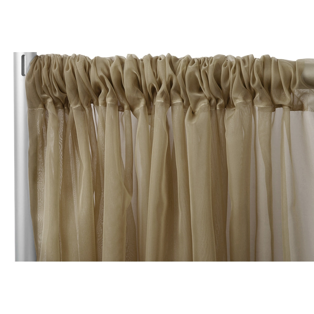 "Sheer Voile 8ft H x 118"" W drape/backdrop - Taupe"