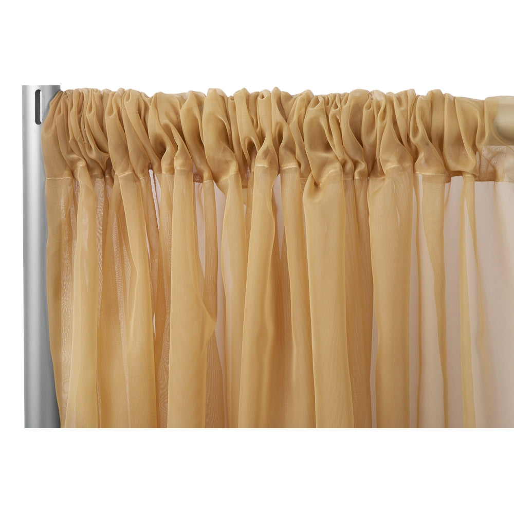 "Sheer Voile 12ft H x 118"" W drape/backdrop - Gold"
