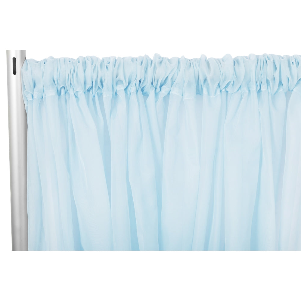 "Sheer Voile Flame Retardant (FR) 10ft H x 118"" W Drape/Backdrop Curtain Panel - Baby Blue"