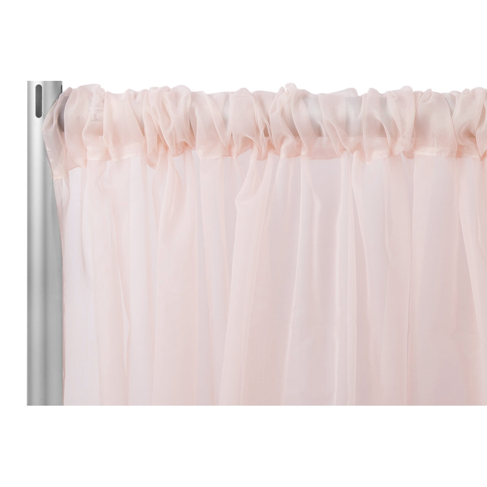"Sheer Voile Flame Retardant (FR) 10ft H x 118"" W Drape/Backdrop Curtain Panel - Blush/Rose Gold"