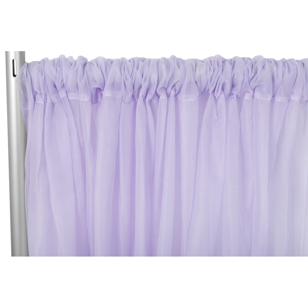 "Sheer Voile Flame Retardant (FR) 10ft H x 118"" W Drape/Backdrop Curtain Panel - Lavender"