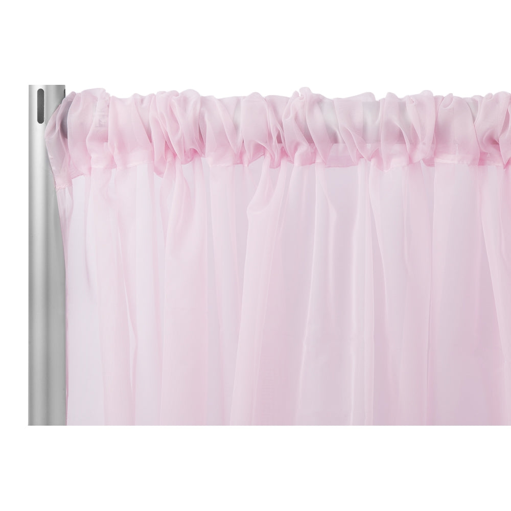 "Sheer Voile Flame Retardant (FR) 10ft H x 118"" W Drape/Backdrop Curtain Panel - Pink"