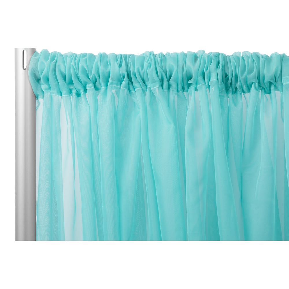 "Sheer Voile Flame Retardant (FR) 10ft H x 118"" W Drape/Backdrop Curtain Panel - Turquoise"