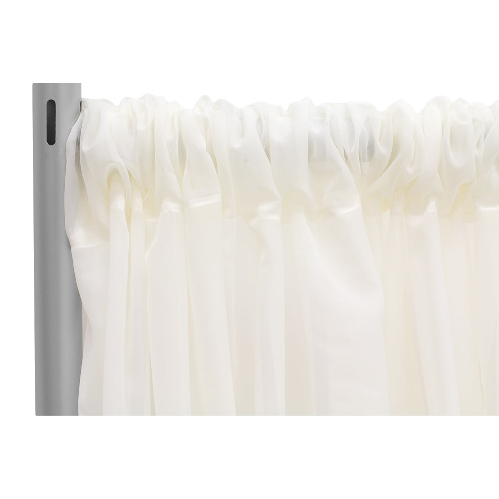 "Sheer Voile Flame Retardant (FR) 12ft H x 118"" W Drape/Backdrop Curtain Panel - Ivory"