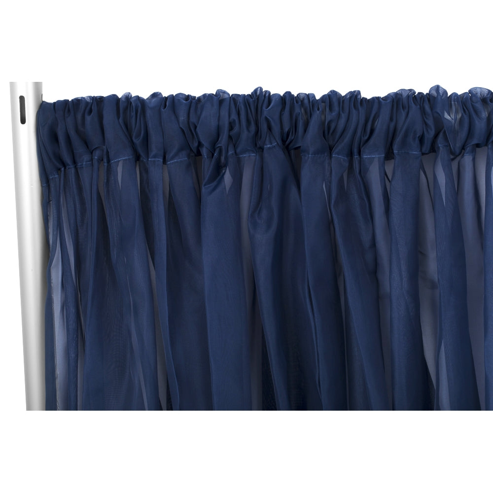 "Sheer Voile Flame Retardant (FR) 12ft H x 118"" W Drape/Backdrop Curtain Panel - Navy Blue"