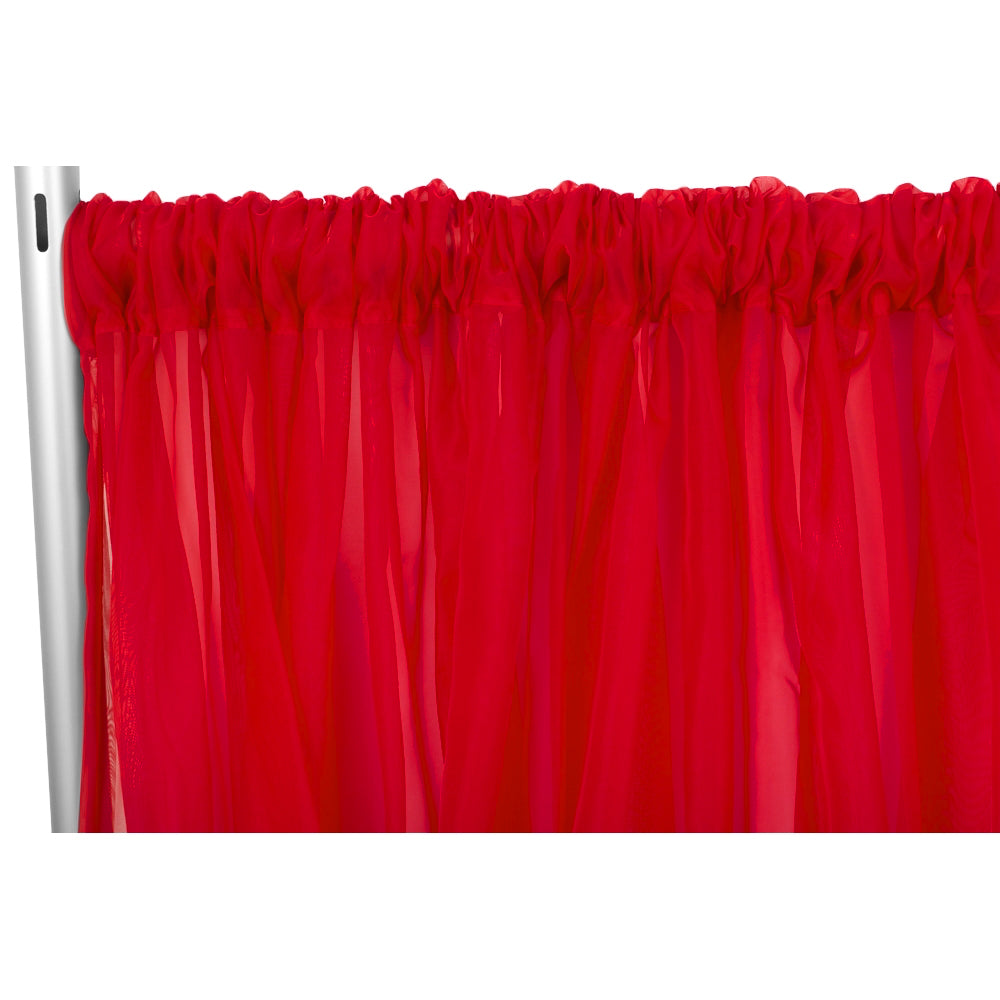 "Sheer Voile Flame Retardant (FR) 12ft H x 118"" W Drape/Backdrop Curtain Panel - Red"