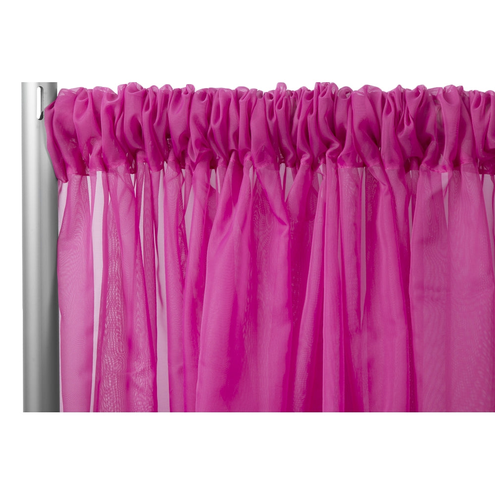 "Sheer Voile Flame Retardant (FR) 8ft H x 118"" W Drape/Backdrop Curtain Panel - Fuchsia"