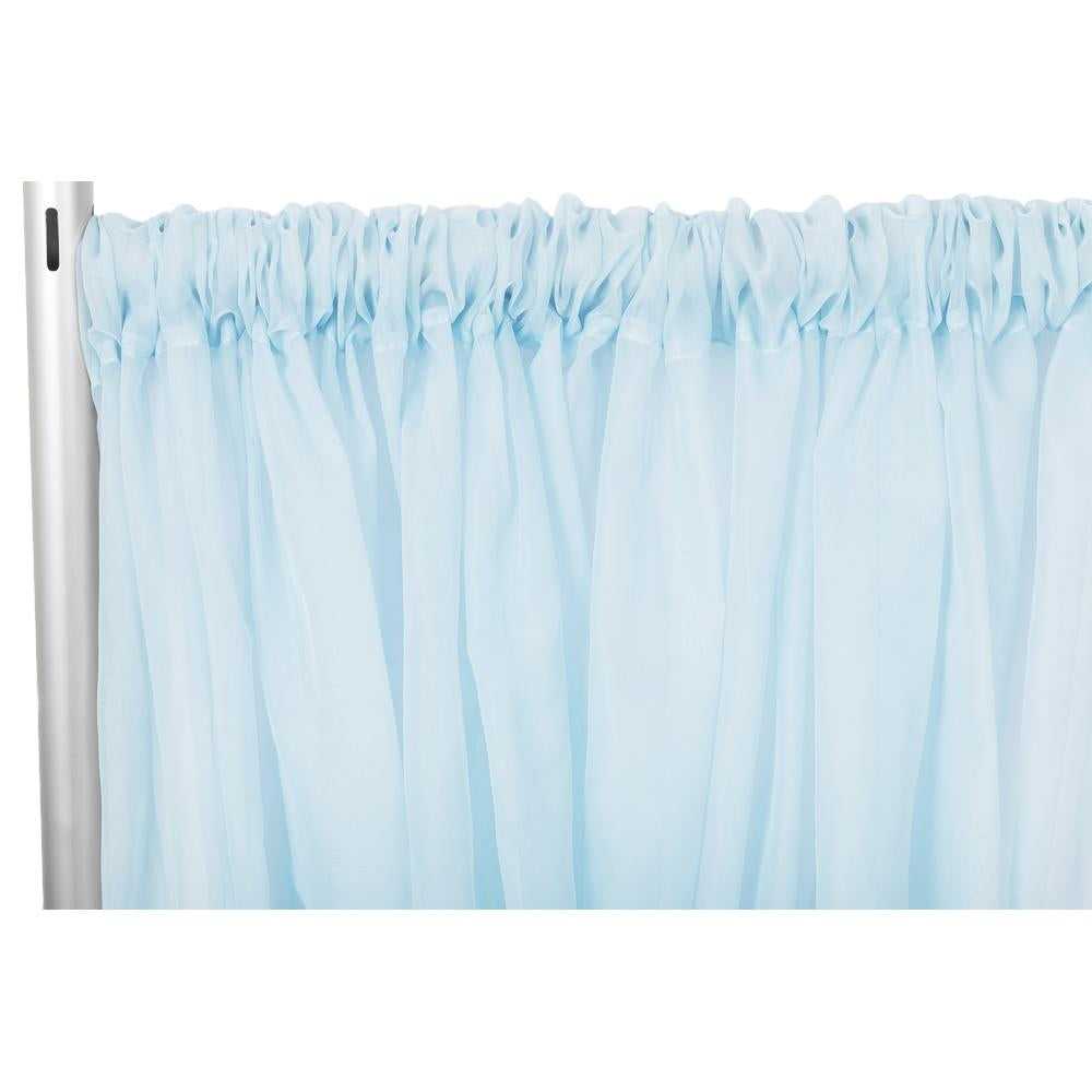 "Sheer Voile Flame Retardant (FR) 14ft H x 118"" W Drape/Backdrop Curtain Panel - Baby Blue"