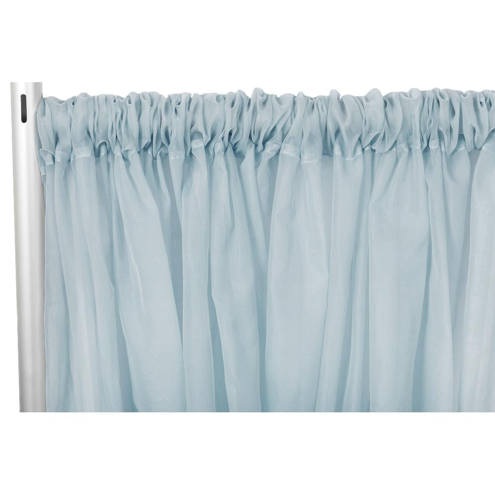 "Sheer Voile Flame Retardant (FR) 14ft H x 118"" W Drape/Backdrop Curtain Panel - Dusty Blue"