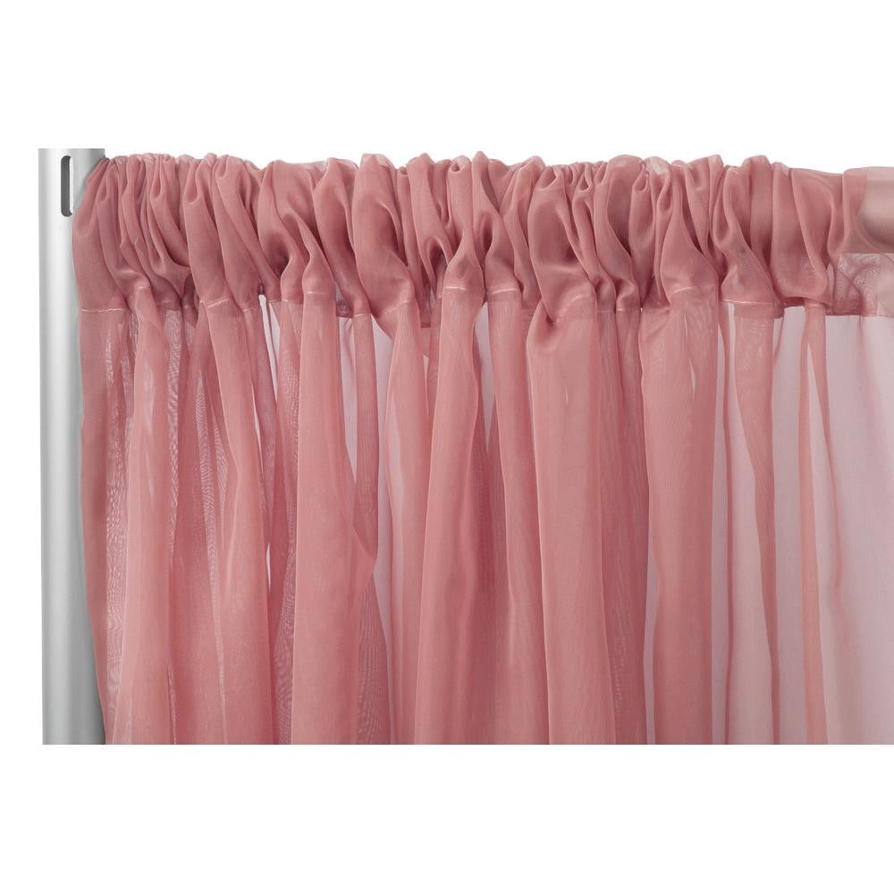 "Sheer Voile Flame Retardant (FR) 8ft H x 118"" W Drape/Backdrop Curtain Panel - Dusty Rose/Mauve"