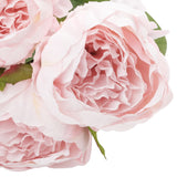 Silk Artificial Peony Flower Bush Bundle - Light Pink