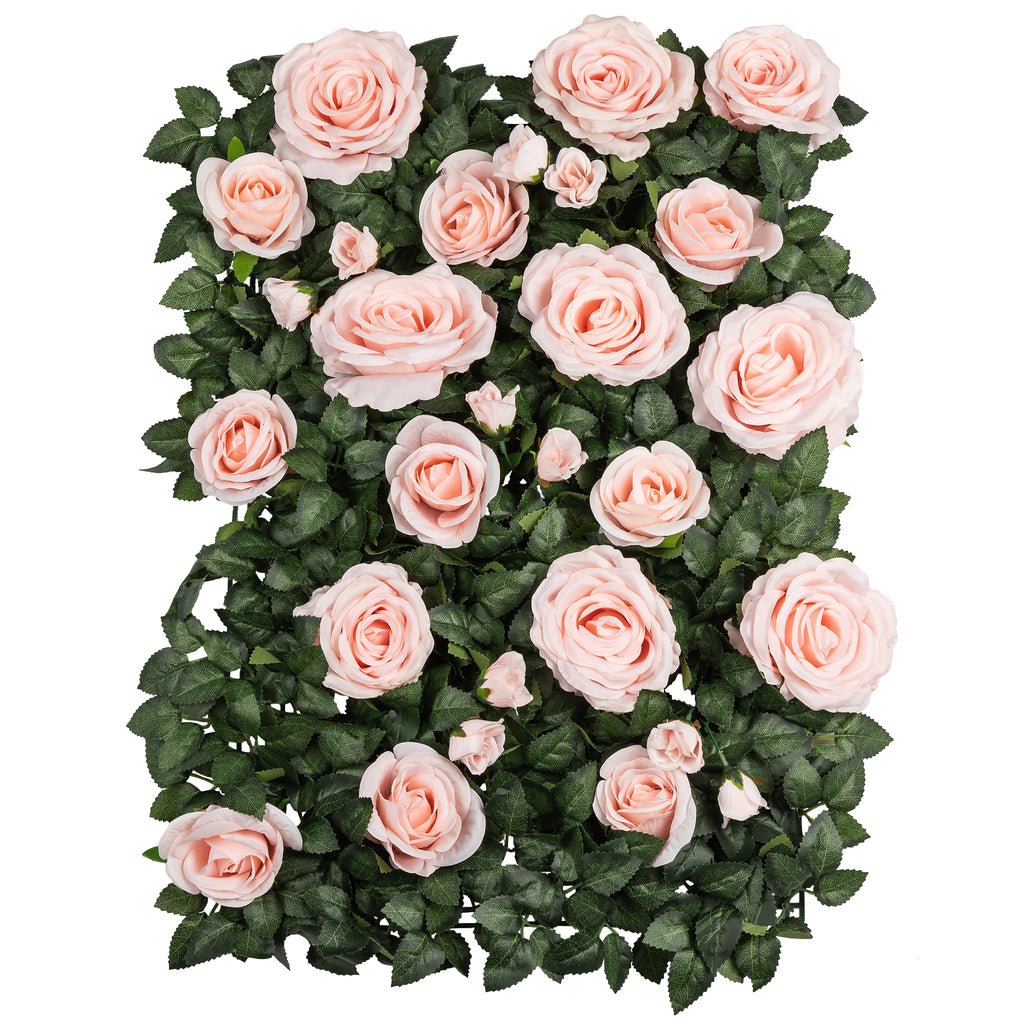 Silk Greenery with Roses Wall Backdrop Panel - Light Pink