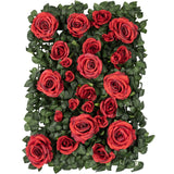 Silk Greenery with Roses Wall Backdrop Panel - Red