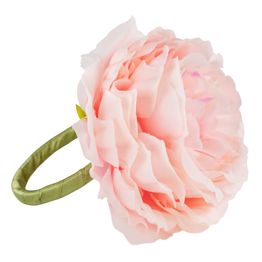 Silk Peony Flower Napkin Ring Holder (10 Count)- Pink