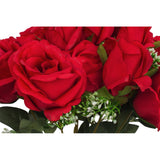 Silk Rose Bush 12 heads - Red