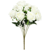Silk Rose Bush 12 heads - White