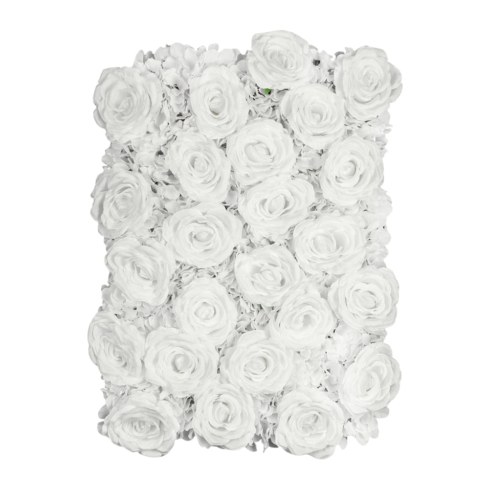 Silk Roses/Hydrangeas Flower Wall Backdrop Panel - White
