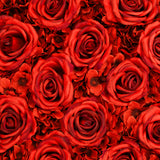 Silk Roses/Hydrangeas Flower Wall Backdrop Panel - Red