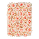Silk Roses/Hydrangeas Flower Wall Backdrop Panel - Bi-Color Pink/Peach
