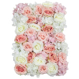 Silk Roses/Hydrangeas Flower Wall Backdrop Panel - Ivory & Pink