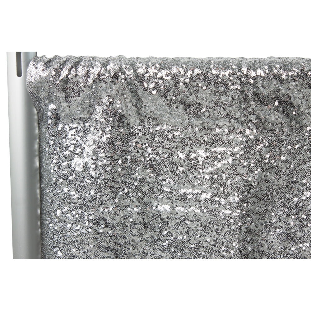 "Glitz Sequin 14ft H x 52"" W Drape/Backdrop panel - Silver"
