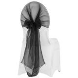 Snow Organza Chair Caps/Hoods - Black