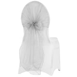 Snow Organza Chair Caps/Hoods - Silver