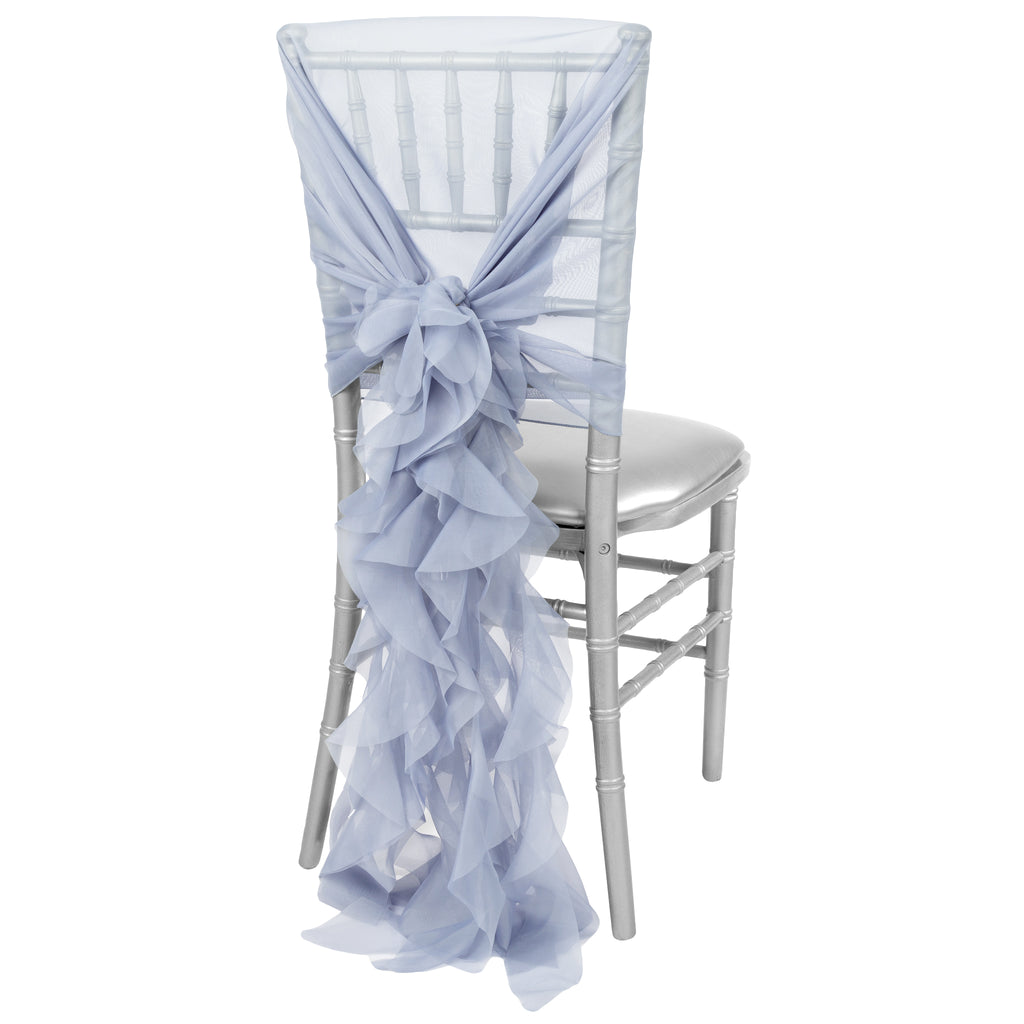 1 Set of Soft Curly Willow Ruffles Chair Sash & Cap - Dusty Blue