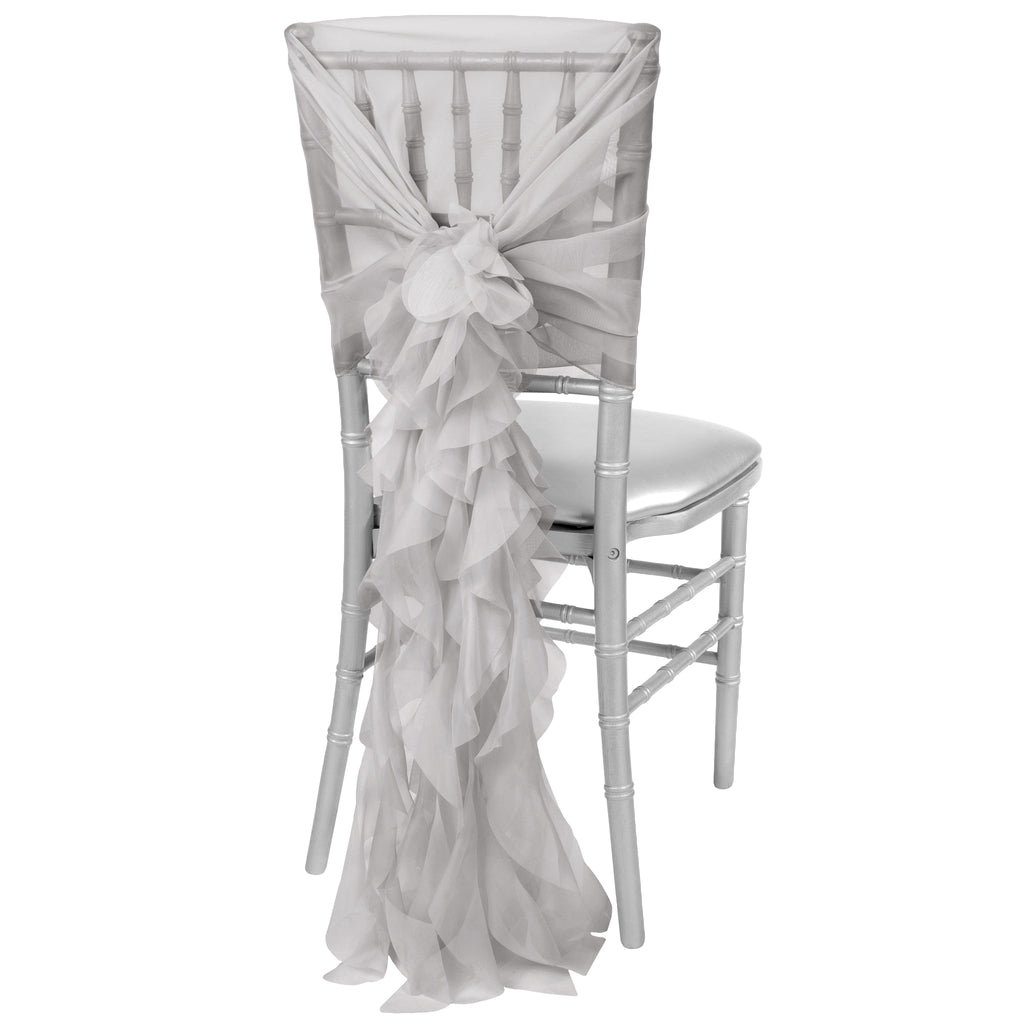 1 Set of Soft Curly Willow Ruffles Chair Sash & Cap - Gray/Silver