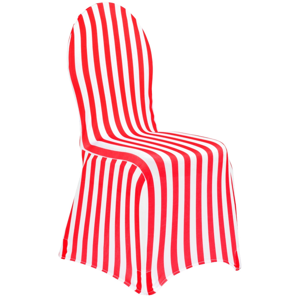 Fabulous Stripe Spandex Banquet Chair Cover Red White Gmtry Best Dining Table And Chair Ideas Images Gmtryco