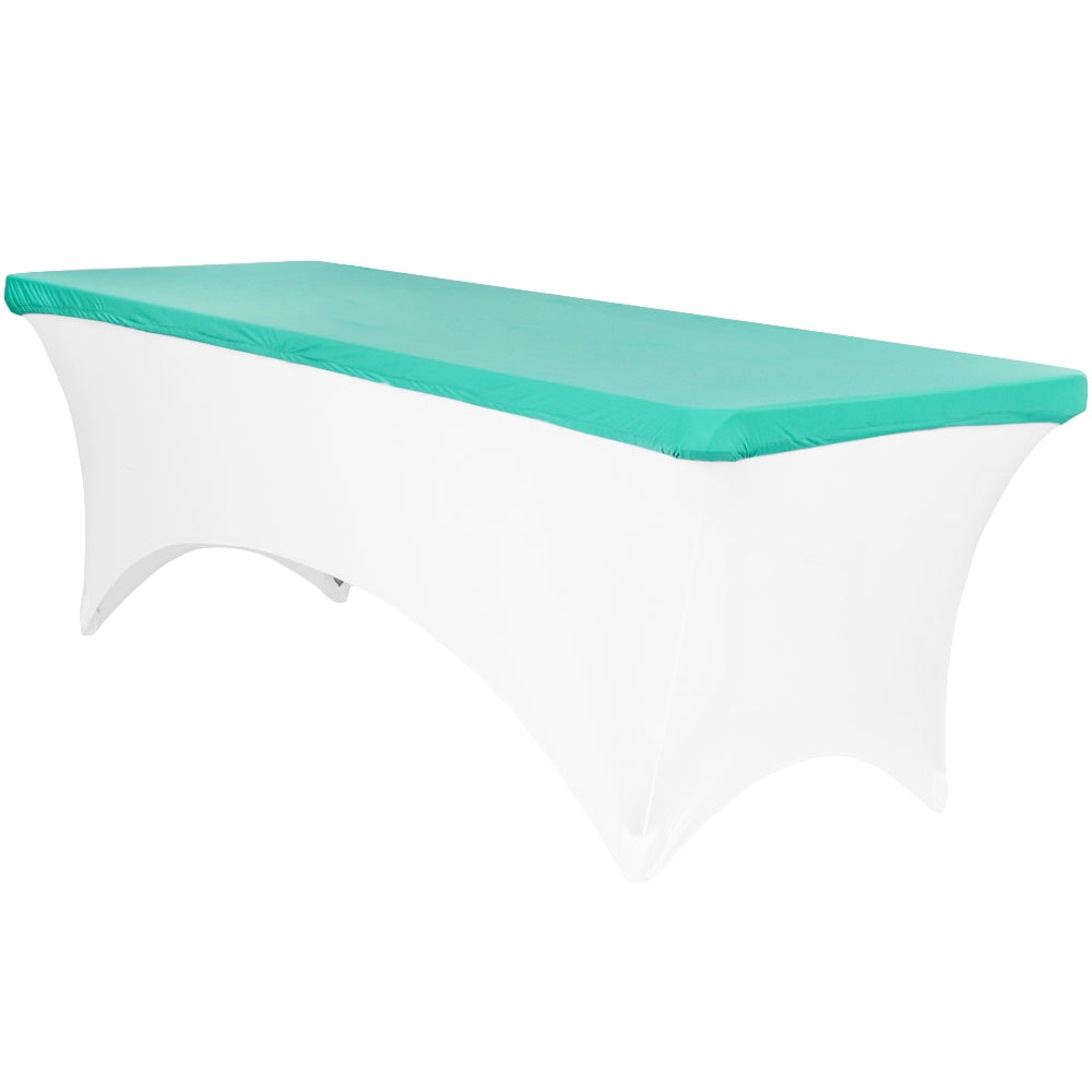 Spandex Table Topper/Cap 8 FT Rectangular - Turquoise