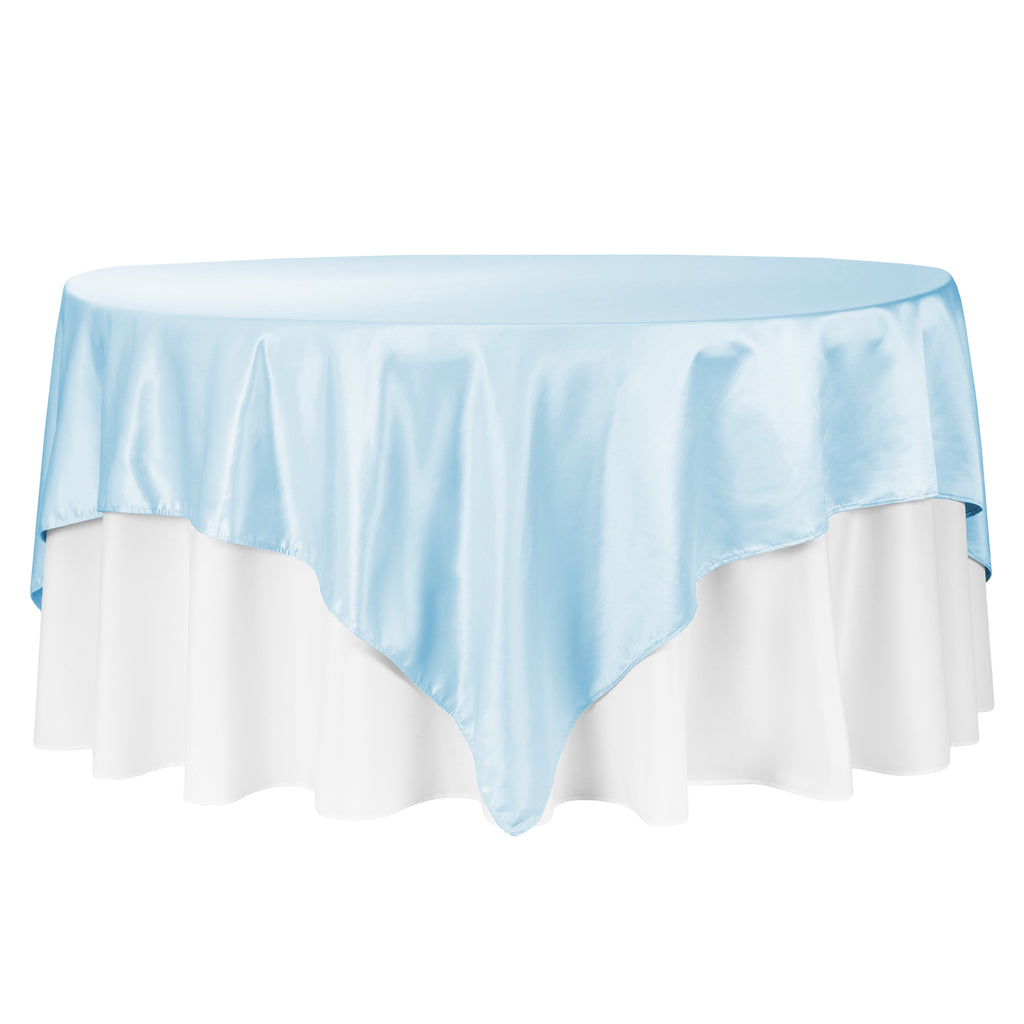 "Square 90""x90"" Lamour Satin Table Overlay - Baby Blue"