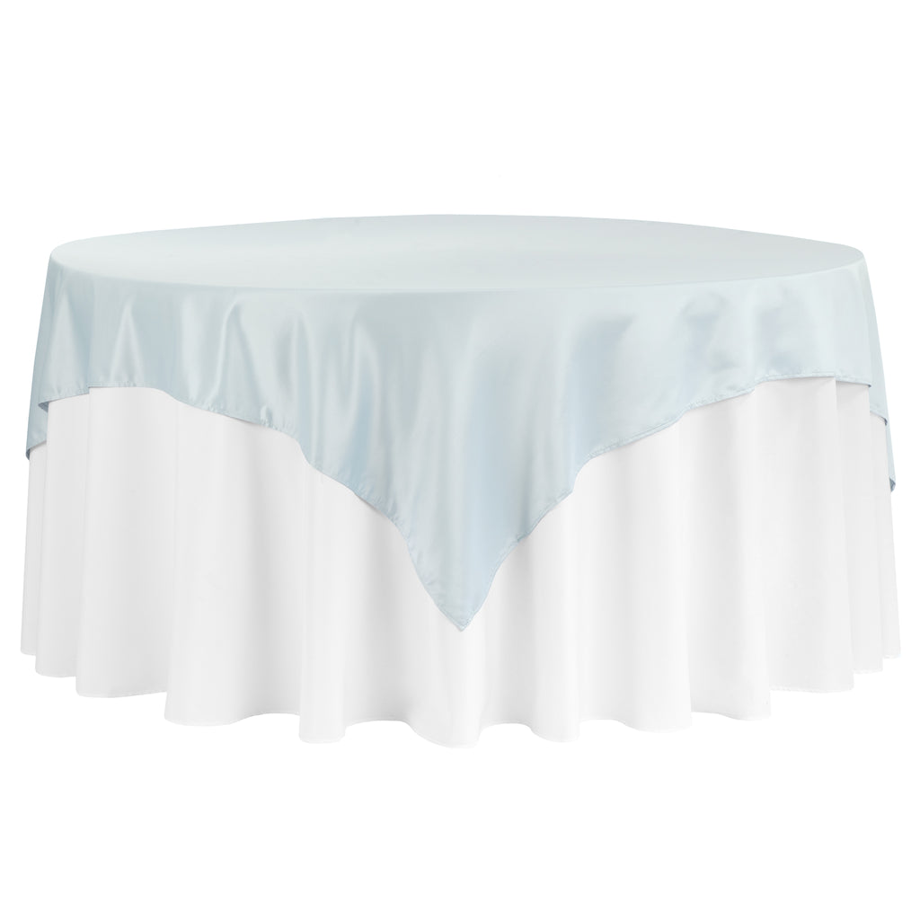 "Square 72"" Lamour Satin Table Overlay - Dusty Blue"