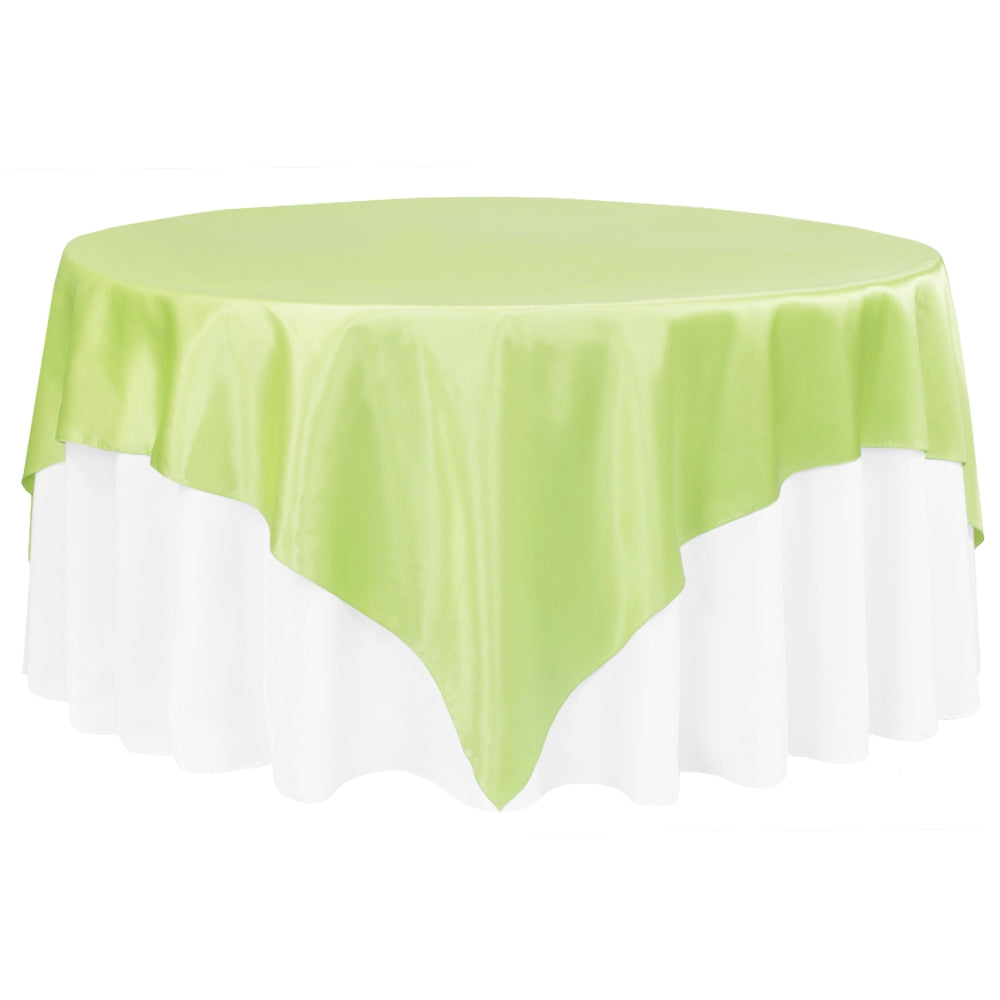 "Square 90""x90"" Satin Table Overlay - Apple Green"