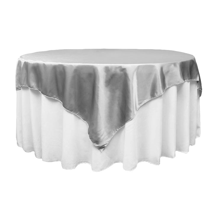 "Square 72"" Satin Table Overlay - Silver"