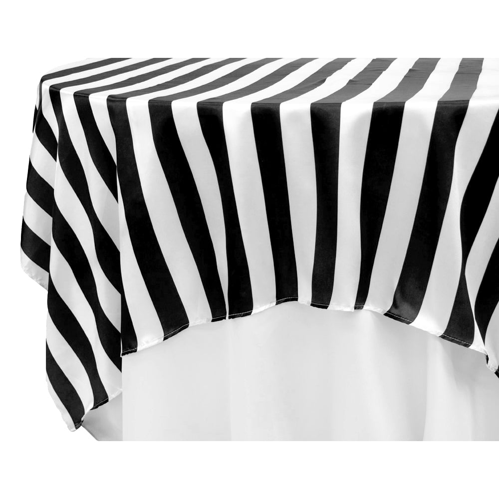 "Stripe 90""x90"" Square Satin Table Overlay - Black & White"