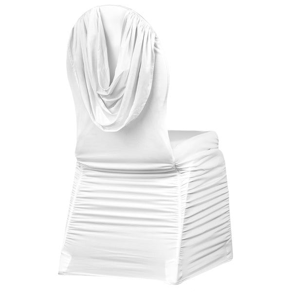 Swag Back Ruched Spandex Banquet Chair Cover White Cv