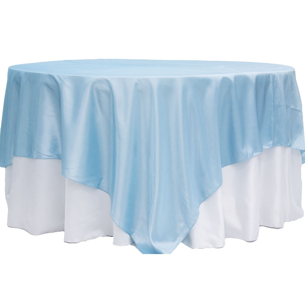 "Taffeta Table Overlay Topper 90""x90"" Square - Baby Blue"