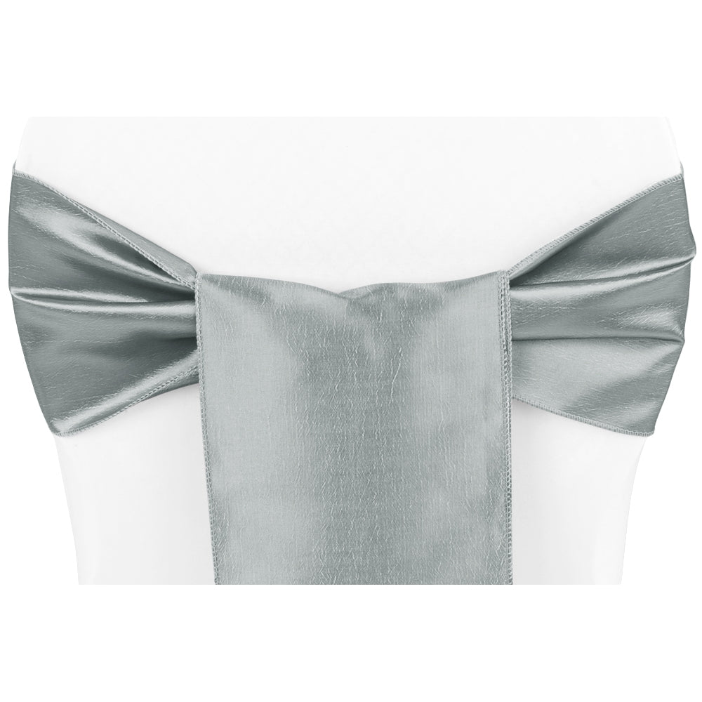 Taffeta Chair Sash/Tie - Gray/Silver