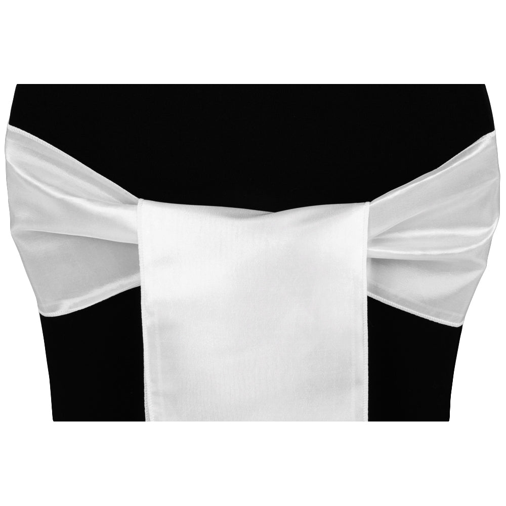Taffeta Chair Sash/Tie - White