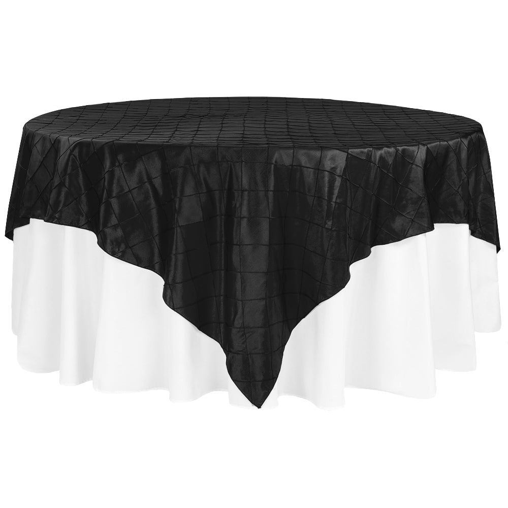 "Pintuck 90""x90"" square Table Overlay - Black"