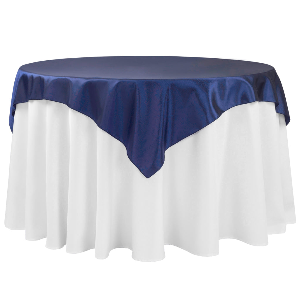 "Taffeta Table Overlay Topper 54""x54"" Square - Navy Blue"