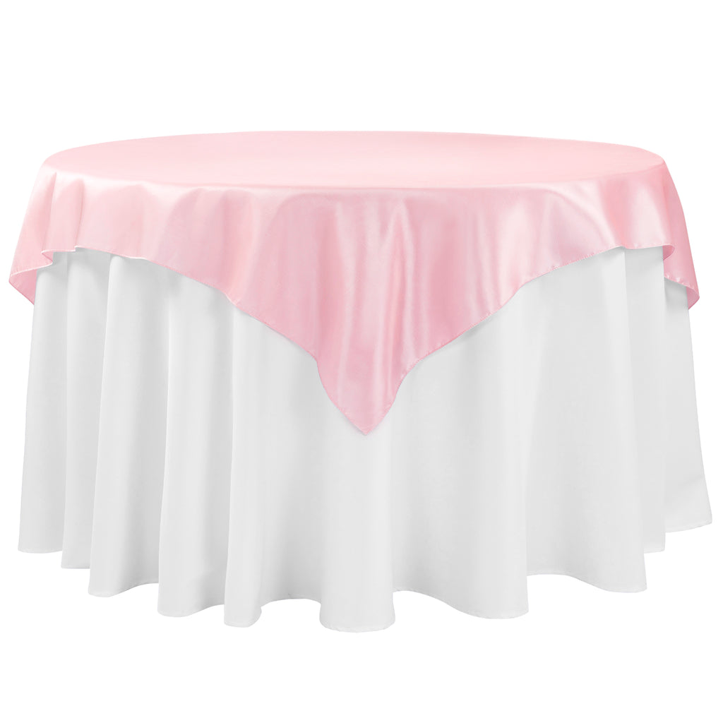 "Taffeta Table Overlay Topper 54""x54"" Square - Pink"