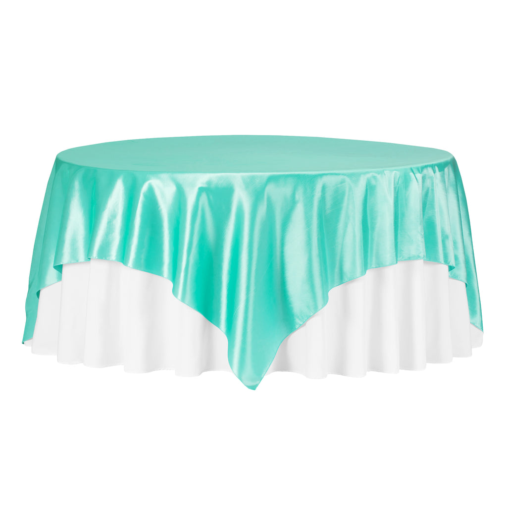 "Taffeta Table Overlay Topper 90""x90"" Square - Turquoise"