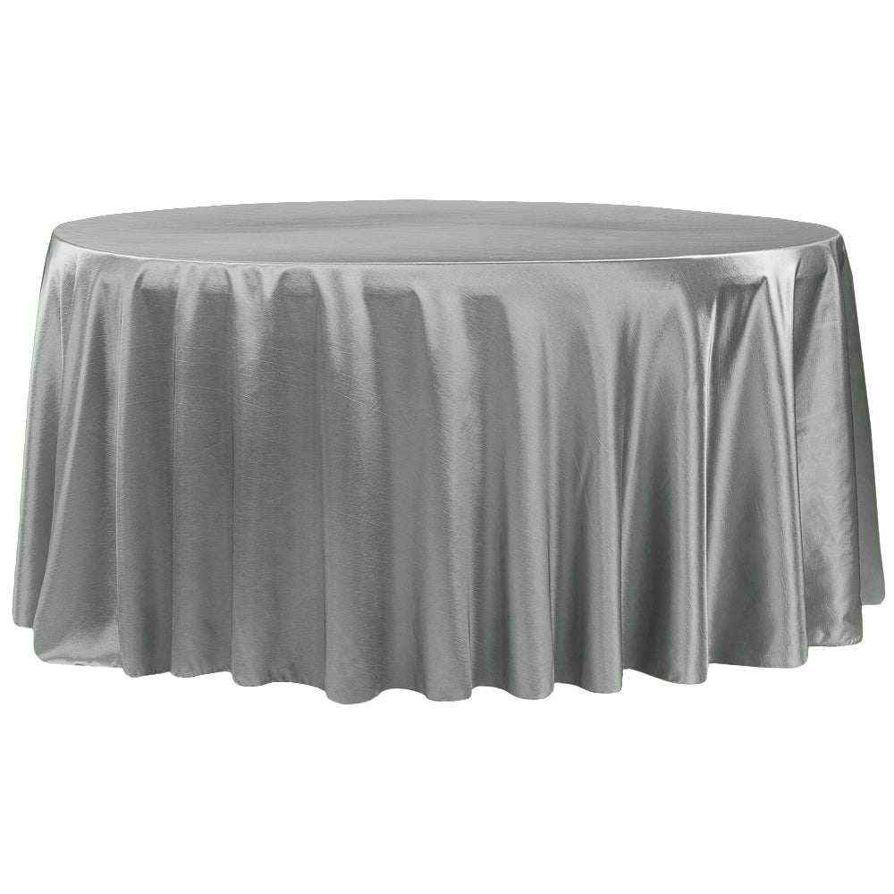 "Taffeta Tablecloth 120"" Round - Gray/Silver"