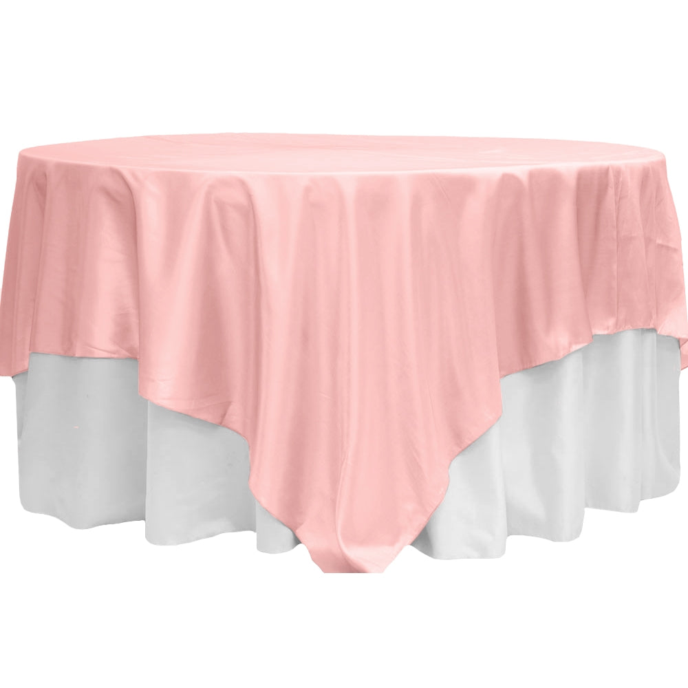 "Taffeta Table Overlay Topper 90""x90"" Square - Pastel Pink (Clearance)"