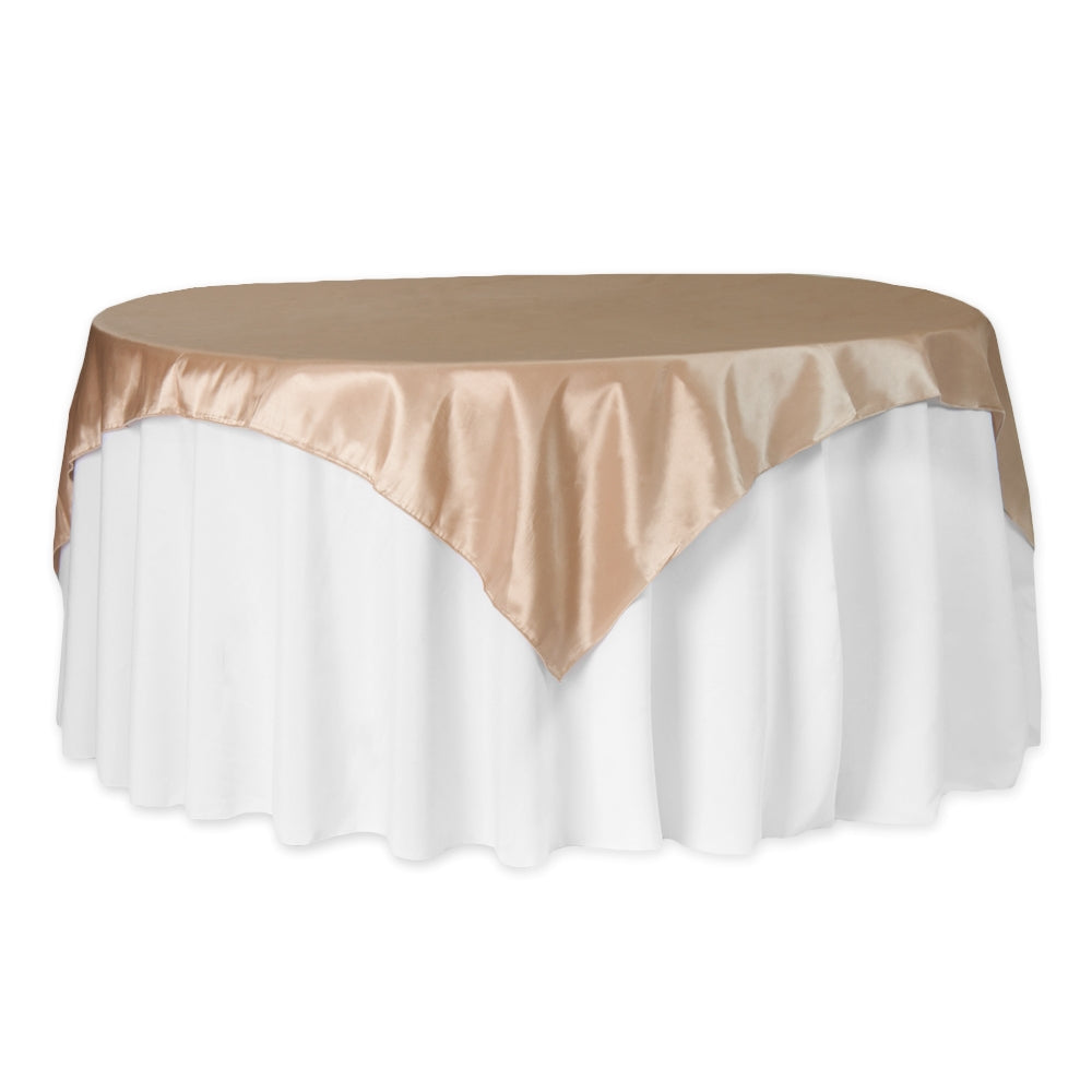 "Taffeta Table Overlay Topper 72""x72"" Square - Champagne"
