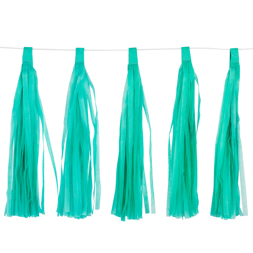 Tassel Wall Hanging Paper Garland Banner 5 pcs - Turquoise